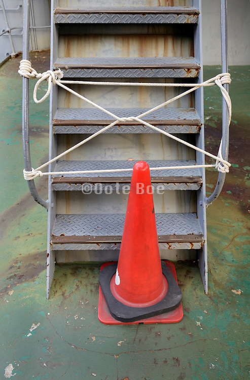 blocked of metal stair on ship