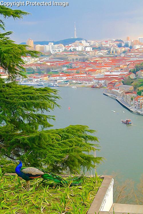 View of the Douro River form the Jardins do Palacio Cristal in Porto Portugal Portugal