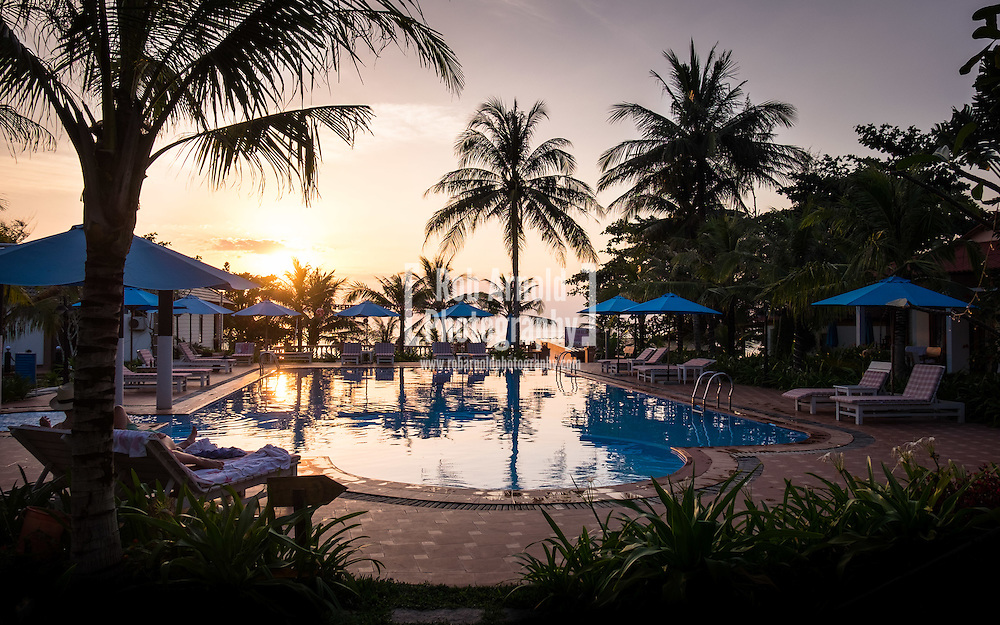 The sun sets for the last time in 2015 over the Orange Resort on Phu Quoc Island in Southern Vietnam.