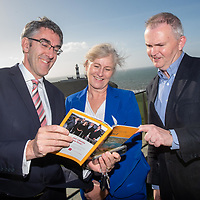 REPRO FREE<br /> Sean Mahon, Southern Star; Josephine O'Driscoll, Failte Ireland and Kevin Cullinane, Cork Airport pictured at the launch of the hugely popular 'Doing Business in Kinsale 2019/20' guide at the Old Head Golf Links by Minister Jim Daly TD<br /> Picture. John Allen