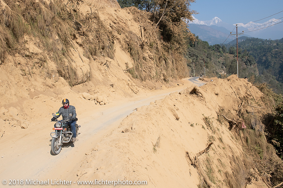 Danny Ochs on day-4 of our Himalayan Heroes adventure riding from Pokhara to Kalopani, Nepal. Friday, November 9, 2018. Photography ©2018 Michael Lichter.