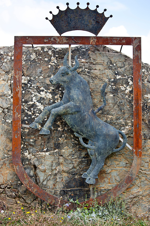 Dancing bull symbol at wine estate in region of Montalcino in Val D'Orcia, Tuscany, Italy