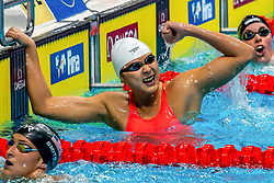 BUDAPEST, Oct. 5, 2018  Wang Jianjiahe of China celebrates victory after the Women's 400m Freestyle final of the FINA Short Course Swimming World Cup in Budapest, Hungary on Oct. 4, 2018. Wang Jianjiahe won the gold with a new World Record of 3 minutes and 53.97 seconds. (Credit Image: © Attila Volgyi/Xinhua via ZUMA Wire)
