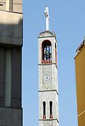 The tower of the catholic church Kisha Françeskane, Shkodër, Albania. 02Sep15