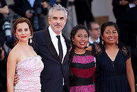 Actress Marina de Tavira, director Alfonso Cuaron, actress Yalitza Aparicio and actress Nancy Garcia at the premiere gala screening of the film Roma at the 75th Venice Film Festival, Sala Grande on Thursday 30th August 2018, Venice Lido, Italy.