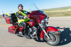 SD Patriot Guard Rider Randy Ward of Sioux Falls, SD (US Army) riding his 1998 Harley-Davidson Ultra on the USS South Dakota submarine flag relay across South Dakota on the first day from Sturgis to Aberdeen. SD. USA. Saturday October 7, 2017. Photography ©2017 Michael Lichter.