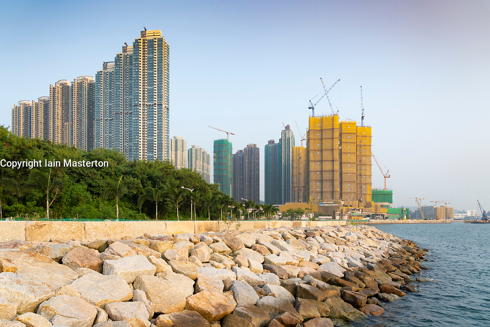 View of new  dense urban high-rise apartment buildings in LOHAS Park new housing estate in New Territories of Hong Kong, China.