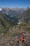 Alpi retiche occidentali, passo del maloja.sullo sfondo il lago Cavloc