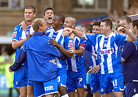 Photo: Ashley Pickering.<br /> Colchester United v Charlton Athletic. Coca Cola Championship. 15/09/2007.<br /> Kevin Lisbie (4th L) celebrates scoring Colchester's second goal with teamates