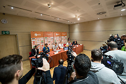 Jaka Lenart, Goran Dragic, Klemen Prepelic, Edo Muric, Igor Kokoskov and Matej Erjavec at press conference of KZS and Slovenian national baskteball team after winning Gold medal at Eurobasket 2017 - Istanbul on September 19, 2017 in Austria Trend Hotel, Ljubljana, Slovenia. Photo by Matic Klansek Velej / Sportida
