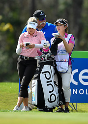 January 19, 2019 - Lake Buena Vista, FL, U.S. - LAKE BUENA VISTA, FL - JANUARY 19: Brooke M. Henderson of Canada looks over her scorecard as she waits to tee off on hole 3 during the third round of the Diamond Resorts Tournament of Champions on January 19, 2019, at Tranquilo Golf Course at Fours Seasons Orlando in Lake Buena Vista, FL. (Photo by Roy K. Miller/Icon Sportswire) (Credit Image: © Roy K. Miller/Icon SMI via ZUMA Press)