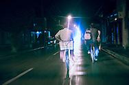 Bicycling at night, Ciego de Avila, Cuba.