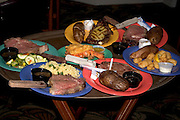 Fine dining dinner plates to be served at Brewmaster Steak House.  Indian Rocks Beach Tampa Bay Area Florida USA