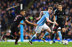 Kevin De Bruyne of Manchester City goes past Marquinhos of Paris Saint-Germain  - Mandatory byline: Matt McNulty/JMP - 07966386802 - 12/04/2016 - FOOTBALL - Etihad Stadium -Manchester,England - Manchester City v Paris Saint-Germain - UEFA Champions League - Quarter Final Second Leg