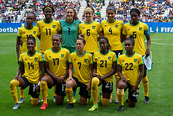 14-06-2019 FRA: Jamaica - Italy, Reims<br /> FIFA Women's World Cup France group C match between Jamaica and Italy at Stade Auguste Delaune / Team Jamaica, Sashana Campbell #12 of Jamaica, Khadija Shaw #11 of Jamaica, Sydney Schneider #1 of Jamaica, Havana Solaun #6 of Jamaica, Chantelle Swaby #4 of Jamaica, Konya Plummer #5 of Jamaica, Kayla McCoy #22 of Jamaica, Olufolasade Adamolekun #21 of Jamaica, Chinyelu Asher #7 of Jamaica, Allyson Swaby #17 of Jamaica, Deneisha Blackwood #14 of Jamaica
