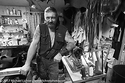 Alexey, the Cowboy, in his leather shop in Moscow, Russia. Wednesday April 26, 2017. Photography ©2017 Michael Lichter.