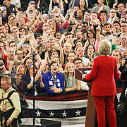 """A crowd of supporters watch Democratic Presidential nominee, Hillary Clinton, during her midnight """"get out the vote"""" rally at NC State in Raleigh, NC."""