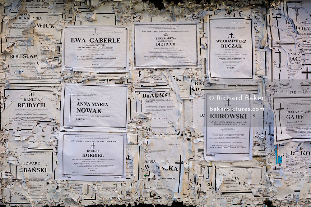 A detail of Polish church notices on a noticeboard outside the Basilica of the Holy Trinity and Dominican monastery, Krakow, on 22nd September 2019, in Krakow, Malopolska, Poland.