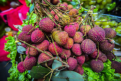 December 11, 2016 - Sao Paulo, Sao Paulo, Brazil - Litchi sinensis at the Municipal Market (Mercadao), in Sao Paulo, Brazil on 11 December 2016. In addition to the items of vegetables, butcher, fishmonger and emporium (national and imported) gathered in a single space, also has restaurants and snack bars that offer chips with the city's face. (Credit Image: © Cris Faga/NurPhoto via ZUMA Press)