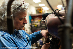 Berry Wardlaw of Accurate Engineering helps with Son's of Speed preparations at Billy Lane's shop during Daytona Bike Week. FL. USA. Tuesday March 13, 2018. Photography ©2018 Michael Lichter.