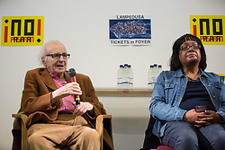 London, UK. 2nd March, 2019. Walter Wolfgang, 95-year-old  Vice-President of the Campaign for Nuclear Disarmament (CND) and refugee from Nazi Germany, addresses the ¡No Pasaran! Confronting the Rise of the Far-Right conference at Bloomsbury Central.