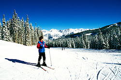 Colorado: Skiing at Telluride, model released. Photo: cotell103  .Photo copyright: Lee Foster, (510) 549-2202, lee@fostertravel.com, www.fostertravel.com