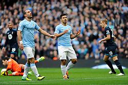 Manchester City's Sergio Aguero reacts to seeing his shot saved - Photo mandatory by-line: Dougie Allward/JMP - Tel: Mobile: 07966 386802 24/11/2013 - SPORT - Football - Manchester - Etihad Stadium - Manchester City v Tottenham Hotspur - Barclays Premier League