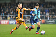 Wycombe Wanderers Joe Jacobson(3) and Cambridge United's Billy Waters during the EFL Sky Bet League 2 match between Wycombe Wanderers and Cambridge United at Adams Park, High Wycombe, England on 10 March 2018. Picture by Alistair Wilson.