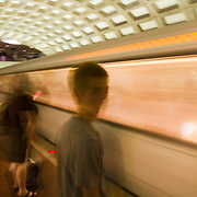 Waiting for the Metro subway train in Washington DC.