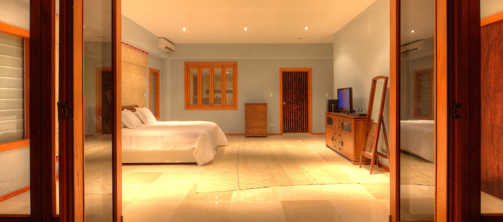 Hotel Bedroom Interior, Shot from Patio, Fiji