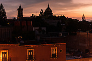 Twilight over the historic Spanish Colonial district of San in Miguel de Allende, Guanajuato, Mexico.