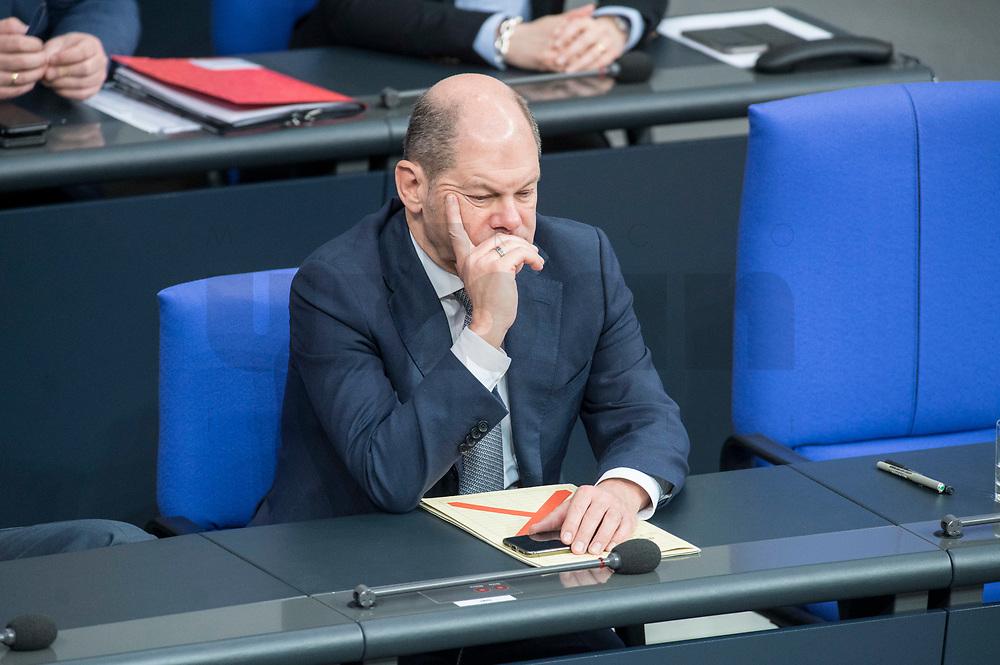 21 MAR 2019, BERLIN/GERMANY:<br /> Olaf Scholz, SPD, Bundesfinanzminister, Bundestagsdebatte zur Regierungserklaerung der Bundeskanzlerin zum Europaeischen Rat, Plenum, Deutscher Bundestag<br /> IMAGE: 20190321-01-038