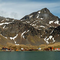View on a sunny day of the old whaling station at Grytviken on the north coast of South Georgia Island.