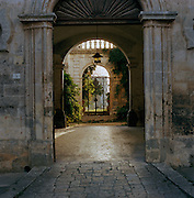 Old stone doorway in Diso, Puglia, Italy