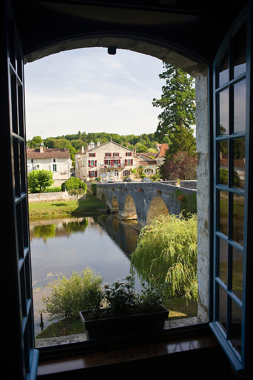 View of town of Bourdeilles, popular as a tourist destination near Brantome in Northern Dordogne, France