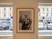 Exhibition at the Czech Center in Prague, image by photographer Karel Cudlin from the Velvet Revolution in 1989.