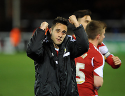 Bristol City's Sam Baldock celebrates his teams win against Peterborough United - Photo mandatory by-line: Dougie Allward/JMP - Mobile: 07966 386802 11/03/2014 - SPORT - FOOTBALL - Peterborough - London Road Stadium - Peterborough United v Bristol City - Sky Bet League One
