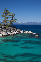 """""""Boulders at Lake Tahoe 42"""" - Photograph of boulders along the East shore of a very blue Lake Tahoe, just north of Sand Harbor."""
