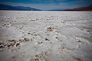 Dried salt deposits at Badwater Basin, the lowest point on earth in Death Valley National Park, Nevada, USA.