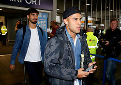 Rafinha and Andre Gomes of FC Barcelona arrive at Manchester Airport - Mandatory by-line: Matt McNulty/JMP - 31/10/2016 - FOOTBALL - Manchester Airport - Manchester, England - Manchester City v Barcelona - UEFA Champions League - Group C