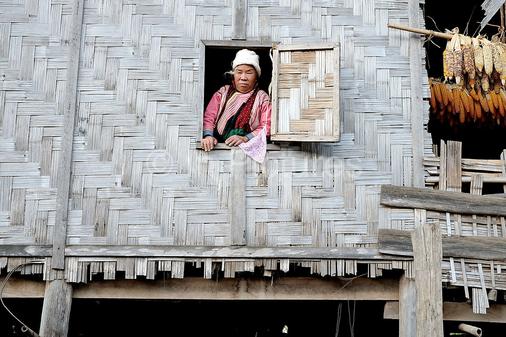 Portrait of a Khi / Lisu ethnic minority woman looking outside of the window of her bamboo house on 20th January 2016 in Kayah State, Myanmar. Myanmar is one of the most ethnically diverse countries in Southeast Asia with 135 different indigenous ethnic groups with over a dozen ethnic Karenni subgroups in the Kayah region