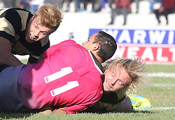 Robbie Louw of Boland looks up at the referee after scoring a try during the Currie Cup premier division match between the Boland Cavaliers and The Pumas held at Boland Stadium, Wellington, South Africa on the 2nd September 2016<br /> <br /> Photo by:   Shaun Roy/ Real Time Images