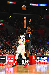 January 29, 2019 - Los Angeles, CA, U.S. - LOS ANGELES, CA - JANUARY 28: Atlanta Hawks Forward Vince Carter (15) shoots over Los Angeles Clippers Guard Patrick Beverley (21) during a NBA game between the Atlanta Hawks and the Los Angeles Clippers on January 28, 2019 at STAPLES Center in Los Angeles, CA. (Photo by Brian Rothmuller/Icon Sportswire) (Credit Image: © Brian Rothmuller/Icon SMI via ZUMA Press)