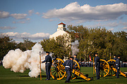 Palmetto Battery fires off a black powder round during retreat parade on Friday, March 6, 2020.<br /> <br /> Credit: Cameron Pollack / The Citadel