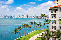 Panoramic view of Downton Miami and Biscayne Bay with waterfront balconies.