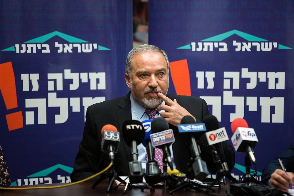 Israeli lawmaker and Leader of Yisrael Beytenu party, Avigdor Lieberman, speaks during Yisrael Beytenu faction meeting at the Knesset, Israel's parliament in Jerusalem, on May 11, 2015.