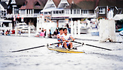 Henley. England, 1989 Henley Royal Regatta, River Thames, Henley Reach,  [© Peter Spurrier/Intersport Images], The Silver Goblets & Nickalls' Challenge Cup, Bow John GARRETT and Salih HASSAN,