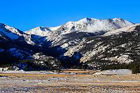 Moraine Park below 12,922 ft. Stones Peak in Rocky Mountain National Park during the  winter season, Colorado.