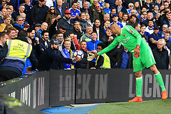 21 October 2017 -  Premier League - Chelsea v Watford - A fan pulls the ball away after offering it to Heurelho Gomes of Watford - Photo: Marc Atkins/Offside