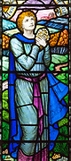 Stained glass window 'I will lift mine eyes to the hill' Psalm 121, c 1928 John Underwood Wilsford church, Wiltshire, England, UK